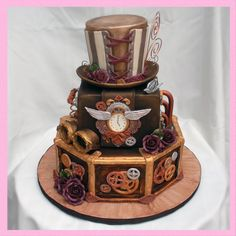 Steampunk Wedding Cake - I have wanted to do a Steampunk cake for awhile. Here is my interpretation of a Steampunk wedding cake.