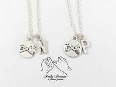 2 Mother Daughter Necklaces Pinky Promise Necklace by Promise Necklace, Ring Necklace, Dog Tag Necklace, Mother Daughter Jewelry, Mother Jewelry, 2 Best Friends, Pinky Swear, Best Friend Necklaces, Ring Watch