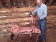 This video shows how I insulate the seams in the log walls prior to nailing and chinking. How To Build A Log Cabin, Log Wall, Lake Cabins, Cabin Plans, Cabins In The Woods, Log Homes, Estate Homes, Building A House, Home Improvement