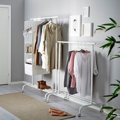 The Rigga Clothes Rack ($12.99, ikea.com) is basic, white, and brilliantly priced! If you need to get organized on the cheap, try a couple of these side-by-side as shown. The height adjustable rail gives you options. Love the way these are incorporated into the room decor.