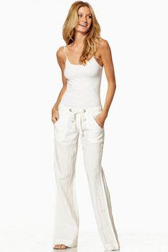 Drawstring White Linen Pants