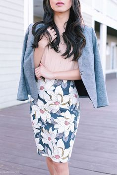 spring / summer - spring fashion - summer fashion - spring outfits - summer outfits - street style - street chic style - work outfits - office wear - blush shirt, grey blazer, floral print pencil skirt, light pink heels