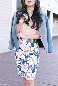 spring / summer - spring fashion - summer fashion - spring outfits - summer outfits - street style - street chic style - work outfits - office wear - blush shirt, grey blazer, floral print pencil skirt, light pink heels