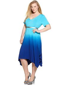 Calvin Klein Plus Size Dress, Short Sleeve Belted Asymmetrical Hem Dip Dyed