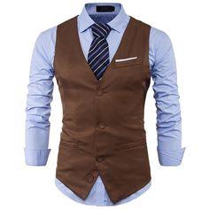 18690c6ab46 Mens Suit Vest 2017 Sleeveless Male Waistcoat Slim Fit Vest Waistcoat  Business Wedding Classic Colete Masculino Social Blazer. Wedding SuitsVest  For Men ...