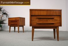 2 Danish Style Sculpted Pulls Nightstands