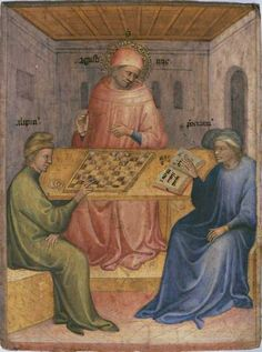 Saint Augustine and Alypius Receiving Ponticianus. Saint Augustin et Alypius reçoivent la visite de Ponticianus. detail Polyptych of Pesaro. Medieval Games, Medieval Art, Medieval Town, History Of Chess, Renaissance, Medieval Paintings, Sacred Art, Museum Of Fine Arts, Historical Fiction