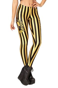 Black and Yellow Stripe Hufflepuff Logo Print Leggings