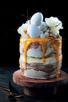 Nesting layer cake with cream cheese icing and lemon curd drizzle recipe - Food and Home Entertaining Cream Cheese Icing, Cake With Cream Cheese, Easter Recipes, Easter Ideas, Cake Recipes, Dessert Recipes, How To Make Icing, Cake Flour, Cake Tins