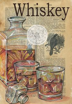 PRINT: Whiskey Mixed Media Drawing on Antique Dictionary by flyingshoes DRUCK: Whisky Mixed Media Zeichnung auf Antique Dictionary von flyingshoes Newspaper Art, Atelier D Art, Book Page Art, Retro Poster, Dragonfly Art, Dictionary Art, Antique Illustration, Vintage Diy, The Artist