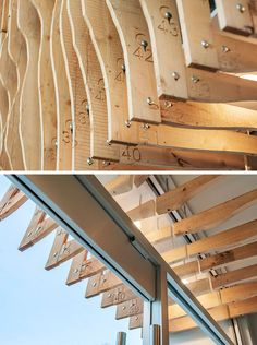 Using 100 year old fir reclaimed from an abandoned grain storehouse in Alberta, design firm MODA created a screen of 'fins' over top of the concrete exterior of this building. Screen Design, Facade Design, Exterior Design, Interior And Exterior, Building Facade, Building Structure, Building Design, Curve Building, Architecture Details