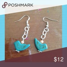 """Turquoise Bird Earrings Turquoise bird beads hang from stainless steel chains on stainless steel ear hooks. Earrings are 1 1/2"""" long. Jewelry Earrings"""