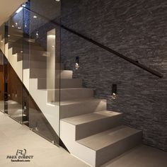 Replicate this stairway to Heaven simply and easily with faux stone panels! #DIY #HomeDecor #StoneWall #FauxStone