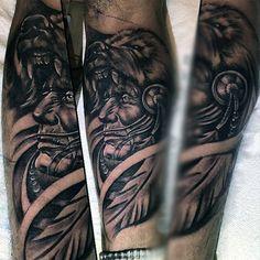 Beast Biting Native American Tattoo Males Lower Legs