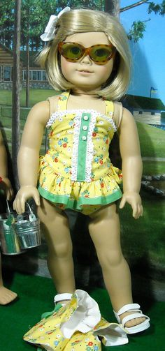 Cotton Bathing Suit, Cover-up, and pail for 18 inch Girls like Mary Ellen. $39.00 for suit, coverup, and duffle bag.