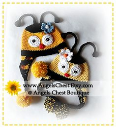 Ravelry: CUTE as can BEE HAT crochet pattern Pdf Format Sizes Newborn to Adult by AngelsChest Pattern No. 31 pattern by Mary Angel Morris