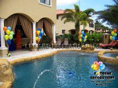 Balloon decor for pool area l Balloon arrangements l Miami Balloon Arrangements, Balloon Decorations, Splash Party, Party Table Centerpieces, I Do Bbq, Reception Party, Miami, Balloons, Surfing