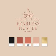Logo and Brand Design for Fearless Hustle Collective - Membership Comm Business Branding, Logo Branding, Branding Design, Hotel Branding, Branding Ideas, Corporate Branding, Logo Ideas, Luxury Branding, Logos
