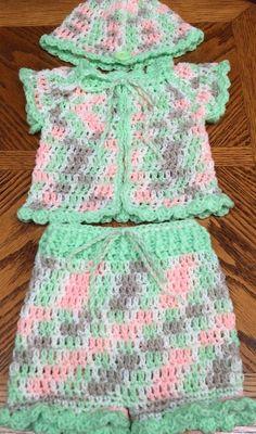 3 pc Crochet Girls' Summer Outfit Jacket, Beanie& Shorts Multi - to 3 month Girls Summer Outfits, Summer Girls, Everyday Holidays, Crochet Shawl Free, Crochet Girls, Two Piece Skirt Set, Beanie, Shorts, Celebrities