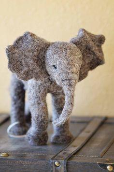 Elephant Needle felted wool African elephant door BearCreekDesign