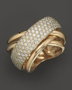 Diamond Pavé Crossover Band in 14K White and Yellow Gold, .70 ct. t.w.  - 100% Exclusive | Bloomingdales's