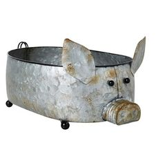 The Grainhouse™ Galvanized Pig Bucket - Christmas Tree Shops and That! - Home Decor, Furniture & Gifts Store Chalkboard Signs, Gift Store, Metal Signs, Decorative Accessories, Bucket, Christmas Tree, Shops, Furniture, Gifts