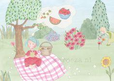 Een picknick in het bos met veel lekkers. #illustratie #watercolours #gouache #childrensillustration. Made by karoeza