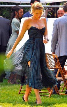 strapless blue dress + leg slit-Blake Lively