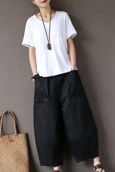 Black Loose Cotton Linen Casual Ankle Length Pants Women Clothes P1203 休日スタイル