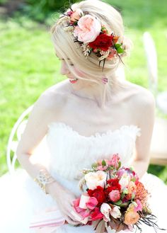 My all time favorite hair piece of cabbage roses, red ranunculus, and berry, Cyn Kain Photography