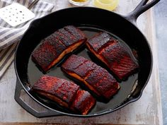 Blackened Salmon recipe from Alex Guarnaschelli via Food Network. Cut back the cayenne to 1 tsp to make it less spicy. Also, shift the pan around to keep the salmon from sticking and losing its spices to the bottom of pan. Top Recipes, Salmon Recipes, Other Recipes, Fish Recipes, Seafood Recipes, Cooking Recipes, Barbecue Recipes, Cooking Dishes, Skillet Recipes