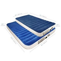 """NTK Ecologic Airbed Single Size 74/""""x 30/""""x 9/"""" with Free Emergency Built in Foot Pump Comfortable Velvet Surface Built with Recycled Material."""