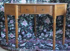 Vintage Ethan Allen Nutmeg CRP Maple 1 Drawer Corner Desk Vanity #EarlyAmerican #EthanAllen