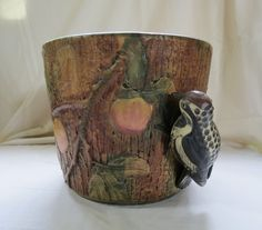Weller Woodcraft Muskota Jardiniere with Woodpecker c.1920s in Pottery & Glass, Pottery & China, Art Pottery | eBay
