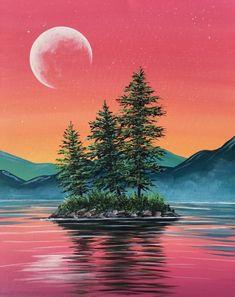 Summer Sunset Island Summer Sunset Island Paint Nite painting by Carmen Maciboric from White City, Saskatchewan, Canada<br> Cute Canvas Paintings, Easy Canvas Painting, Canvas Art, Summer Painting, Mountain Paintings, Beginner Painting, Pastel Art, Acrylic Art, Landscape Paintings