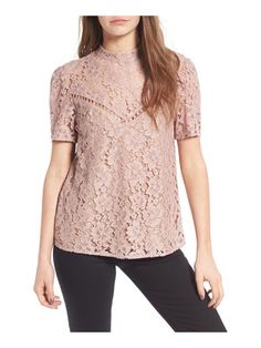 On SALE at OFF! greyson lace top by Wayf. Detailed with neutral lining and a sheer yoke, this gorgeous floral-lace top is ultra-romantic from every angle-perfe. Lacey Tops, Pink Lace Tops, Trendy Clothes For Women, Blouses For Women, Trendy Outfits, Love Fashion, Autumn Fashion, Womens Fashion, Style Fashion
