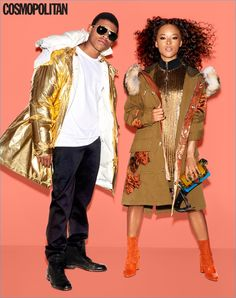 Empire costars Bryshere 'Yazz' Gray and Serayah McNeill pose for a Cosmopolitan photo shoot. Yazz wears a Calvin Klein Collection outfit with Frye boots.