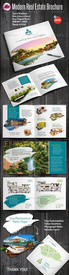Elegant Large Trifold Property Brochure Brochure template and - advertising brochure template