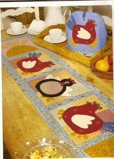 cute chicken table runner and cozy