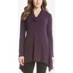 Karen Kane Cowl-Neck Handkerchief-Hem Sweater ($79) ❤ liked on Polyvore featuring tops, sweaters, eggplant, karen kane sweater, purple cowl neck sweater, purple sweater, karen kane and cowlneck sweater