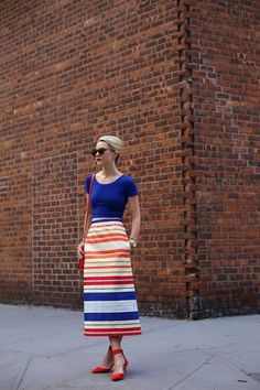 rainbow striped skirt with cobalt blue top