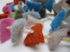 Colorful Up cycled Felted Wool Garland by 4onemore on Etsy, $12.00