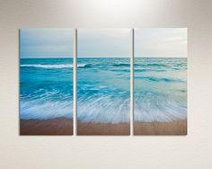 Three panel canvas print - Blue ocean shore wall decor - Ocean photography triptych canvas wall art. Three 10x20 panels. Beach canvas art