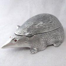 Arthur Court Designs Original Aluminum Hedgehog Trinket Box Carnelian Eyes 1977