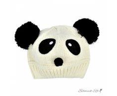 Strick Panda  Kinder Mütze / Beanie schwarz weiß