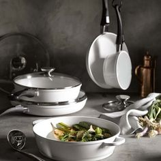 Berndes Vario Click Pearl )low-fat cooking) Ceramic Nonstick 9-Piece Cookware Set | made in Germany #williamssonoma