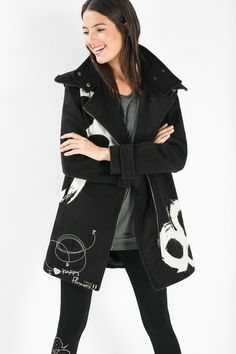 Get ready to get some love... happy flowers in style with this black coat!