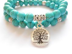 Tree of Life jewelry Yoga Mala Bracelet Turquoise Healing by HVart, $32.95