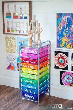 Rangement Art, Art Supplies Storage, Organize Art Supplies, Kids Art Storage, Art Supplies For Kids, Playroom Storage, Paper Storage, Baby Supplies, Craft Storage