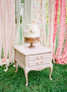 Beautiful wedding cake table; photo: Ashley Upchurch Photography